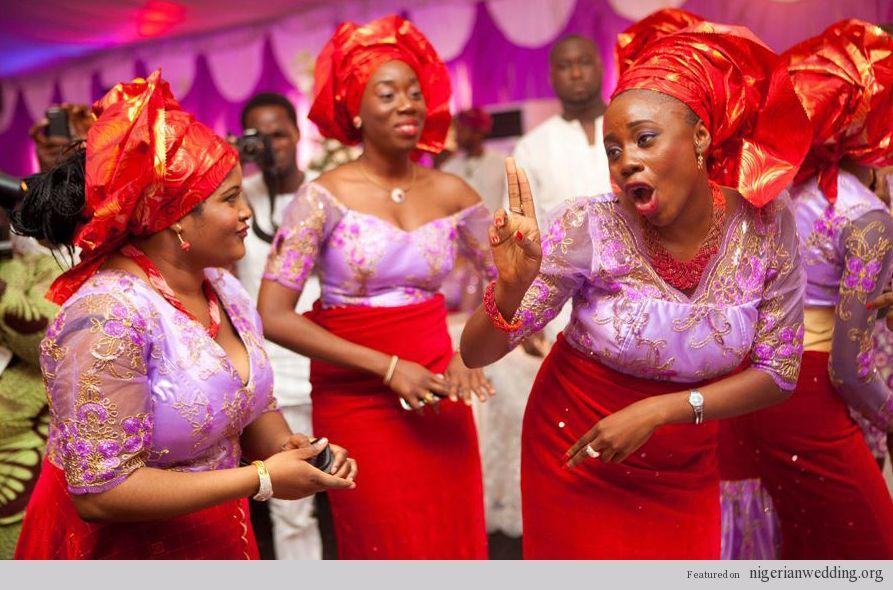 Nigerian Wedding Red Velvet Ore Iyawo Aso Ebi Style Photos