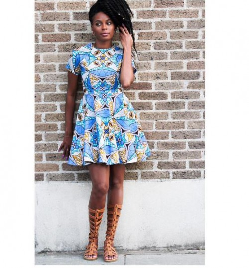 Really cute sky blue flared short Ankara gown with a gladiator sandals to match