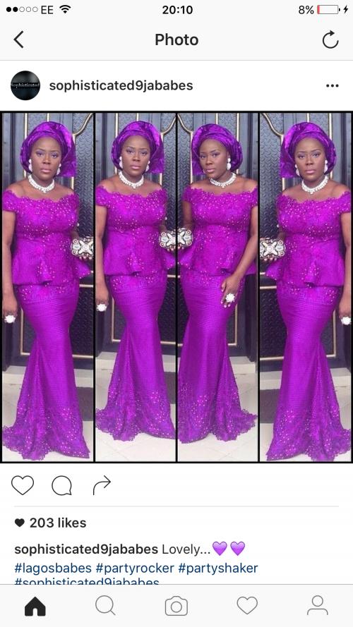 classy gold neck - choke on purple aso ebi for wedding events